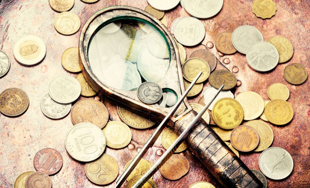 Monetary coins of different ages and different countries of the world.Numismatist coins background